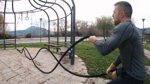 Battle rope and Calisthenics Workout