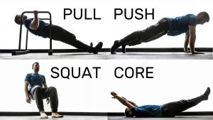 1. Pull 2. Squat 3. Push 4. Core